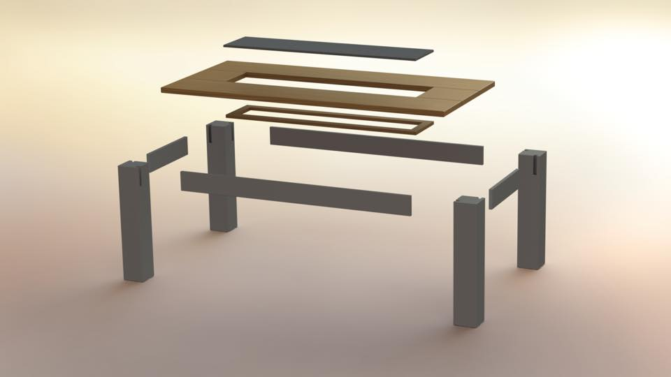 Coffee table exploded view